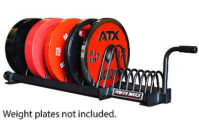 POWER MAXX Bumper Weight Plate Toaster Rack for Storage Gym Training Stand