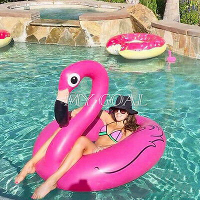 Swan Shaped&Inflatable Giant Flamingo Float Ring Raft Swim Water Pool Hot Sale
