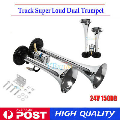 12/24V Dual Trumpet Air Horn Kit Car Truck Boat Motorcycle 150dB Loud AU STOCK