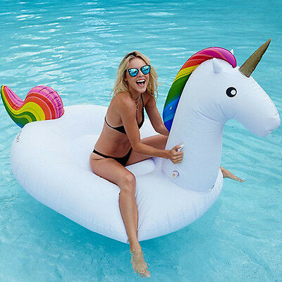 Giant Inflatable Unicorn Water Float Raft Summer Sea Swim Pool Lounger Beach Fun