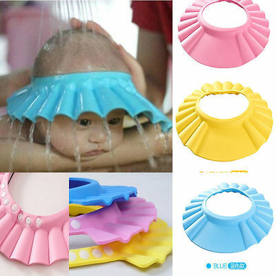 UK Adjustable Baby Shampoo Bath Shower Soft Hat Cap Wash Hair Waterproof Shield