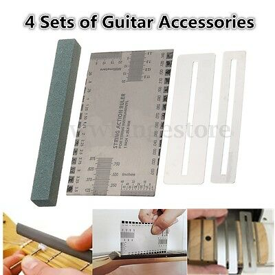Guitar String Action Ruler + Fret Protector Guards + Sanding Polish Luthier Tool