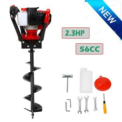 """One Man 52cc Gas Powered Post Hole Digger Earth Soil Power Engine W/ 12"""" Drill"""