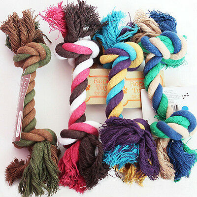 NEW Lovely Puppy Dog Pet Chew Toy Cotton Braided Bone Rope Color Chew Knot