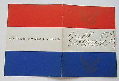 3  Menu's  For The S.S. United States Breakfast, Lunch & Dinner Oct 1952