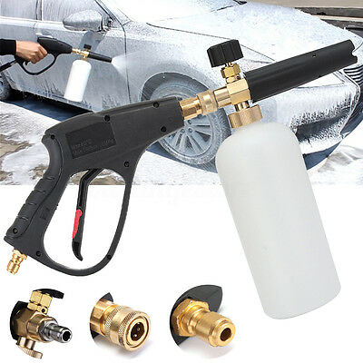 High Pressure Washer Trigger Gun w/ 1L Snow Foam Lance Set Car Cleaning Jet Wash