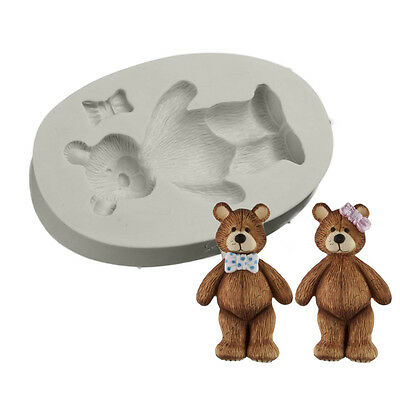 Cake Decor Teddy Bear Bowknot Silicone Fondant Mould Gumpaste Candy Sugarcraft