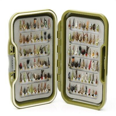 Green Fly Box + Assortment Gold Head Nymphs Trout Fly Fishing Flies 10 25 50 100