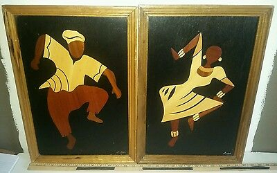Wooden African Heritage Collection Wood  Dancing Wall Hanging Folk Art B. Addo