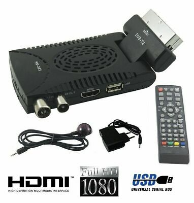 DECODER MINI DIGITALE TERRESTRE PRESA SCART DVB-T2 180° USB HDMI full HD TV FILM