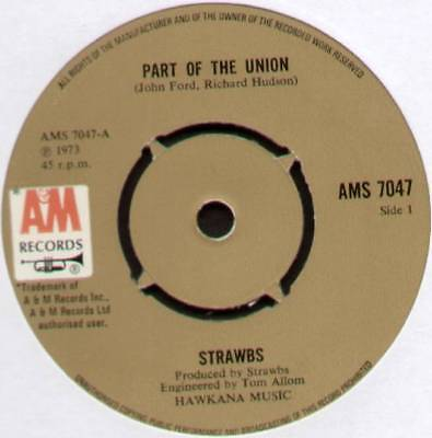 "Strawbs ~ Part Of The Union / Will You Go ~ 1973 Uk 7"" Single ~ A&m Ams 7047"