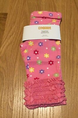 NWT Gymboree Infant Girl Pink Flower Leggings with Tulle Ruffle 3-6 Months