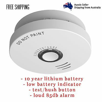 Fire Pro Photoelectric 10 Year Lithium Battery Smoke Alarm Test Hush Button 85db