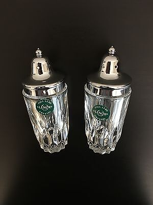 "Lenox Full Lead Crystal Salt & Pepper Shakers, New in Box, 5"" Tall"