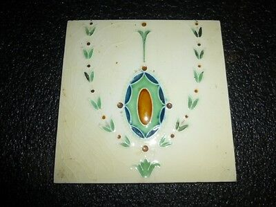 "Antique ""SHERWIN"" ENGLAND -- Arts & Crafts Art Nouveau Majolica Tile #1"