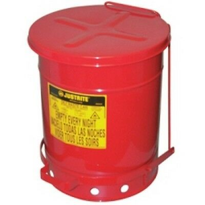 Justrite 09300 Red Galvanized Steel Oily Waste Safety Can - 10 Gallon