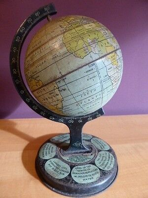 Vintage Rotating Metal Globe of Earth Atlas