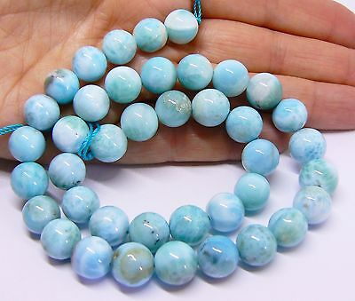 "AAA RARE TOP GRADE ROUND CARIBBEAN BLUE LARIMAR BEADS 15.5"" STRAND 10mm"