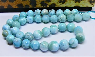 "AAA RARE TOP GRADE CARIBBEAN BLUE LARIMAR ROUND BEADS 15.5"" STRAND 10mm 302cts"
