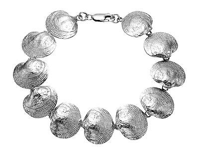 "Sterling Silver Clam Shell 8"" Bracelet - BR01"