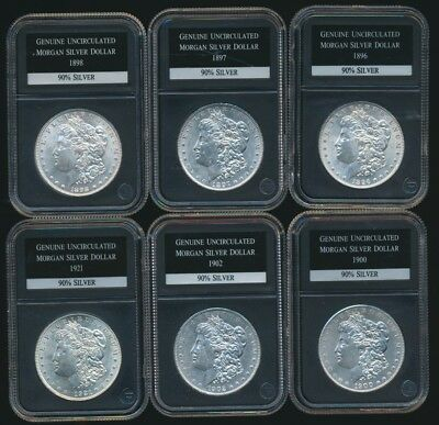 drbobcoins (6) Uncirculated Morgan Dollars 1896,1897,1898,1900,1902,1921