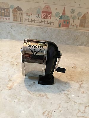 X-Acto 1041 Model l table- or wall-mount pencil sharpener, chrome receptacle,