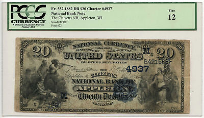 1882 $20 Banknote Date Back The Citizens NB Of Appleton, WI PCGS F-12 Ch#4937