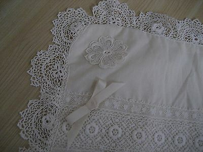 Vtg Antique Ecru IRISH LACE BUDOIR PILLOW COVER Shabby Chic Unused! Case