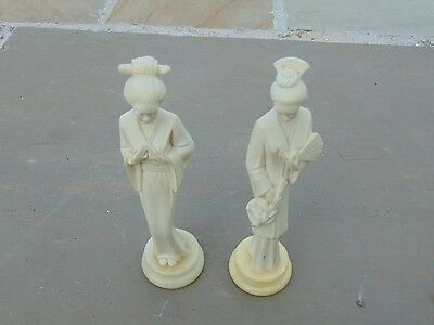 """A Pair Of A Giannelli  Signed Alabaster And Marble Geisha Girls Figurines 7"""" Hig"""