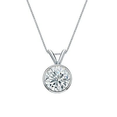 """3 Ct Round Cut Solid Real 14k White Gold Solitaire Bezel Pendant 18"""" Necklace"""
