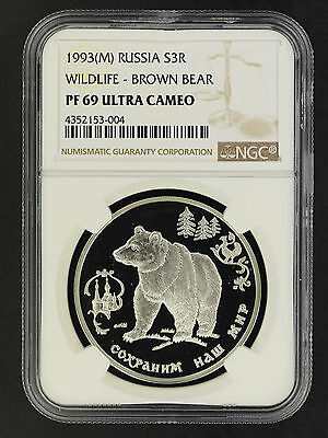 1993(M) Russia Silver 3 Roubles Wildlife-Brown Bear NGC PF-69 Ultra Cameo-162032