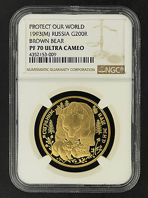 1993(M) Russia Gold 200 Roubles Protect Our World NGC PF-70 Ultra Cameo -162028