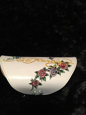 Ed Hardy Women's Eyeglass Sunglass Case  White with Roses and Butterflies