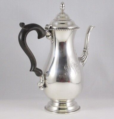 J. Wagner & Son Coffee Pot Sterling Silver With Wooden Handle 648 Grams
