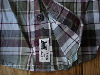 Boys JANIE And JACK L/S PLAID BUTTON UP SHIRT / Top Sz 12-18 Mos Train Holiday