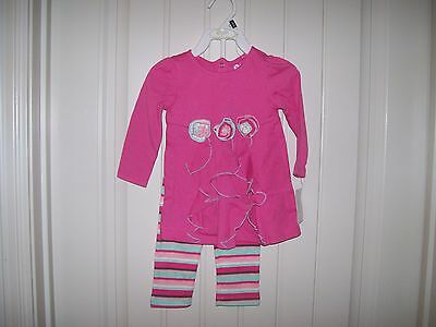 New! Baby Gear Girls Pink Cascade Top & Striped Print Leggings Set Size 12 Month