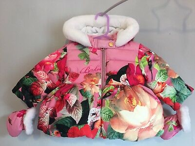 Baby Girls Designer Ted Baker Floral Winter Coat With Mittens 3-6m 🎀