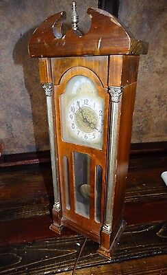 """18672 ~ Vintage Miniature Grand Father Mantle 20"""" Clock ~ United USA ~ Working"""