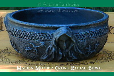 MAIDEN - MOTHER - CRONE  SCRYING BOWL Wicca Pagan Witch Goth ALTAR BOWL