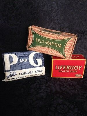 Lot of 3 Vintage Soaps, Lifebuoy, P&G And Fels-Naptha in Original Packaging -NOS