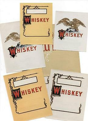 7 original antique SAMPLE whiskey labels, consolidated Litho. Brooklyn NY #128