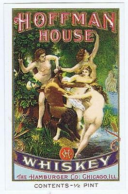 Hoffman House antique whiskey label, nude, Hamburger Co Chicago,  1/4 pint #138