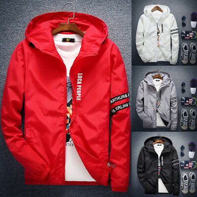 New Men's letter thin zipper jacket Hooded Casual Sports coat Windbreaker