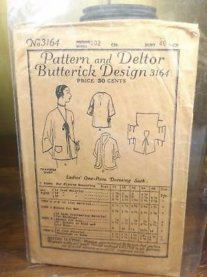 Pattern & Deltor Butterick Design 3164 Size 40 Ladies One-Piece Dressing Sack