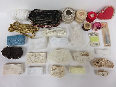 Cloth Lace Trim Edging Thread Vintage Antique 120 Feet