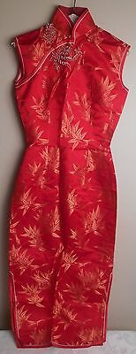 Cheong-sam Dress Asian Red with Orange Blossoms Raised Floral