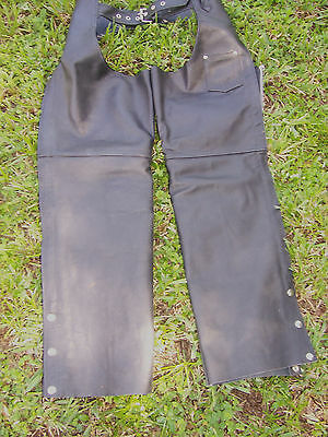Leather Chaps Unisex Premium Heavy Weight Motorcycle  Zip Up + Snaps Pocket