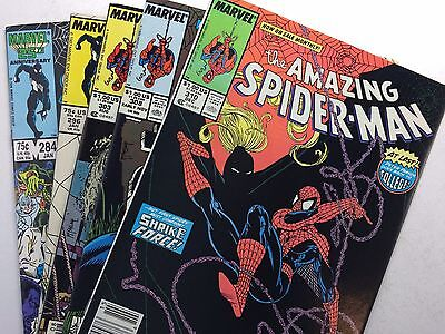 The Amazing Spiderman lot, numbers 284, 296, 303, 308, & 310. Bronze Age.1987-88