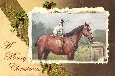 Jack Russell Terrier & Horse C. Reichert LARGE New Blank Christmas Note Cards 1