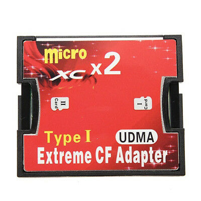2 Port Micro SD TF to CF Card ADAPTER SDHC SDXC COMPACT FLASH TYPE I UDMA USEFUL